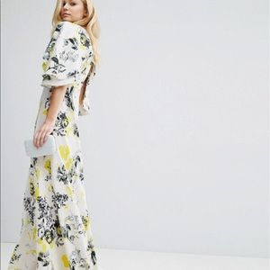 Ruffle Cape Plunge Maxi Dress with back detail